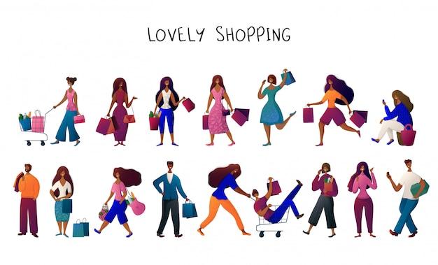 Banner dello shopping persone