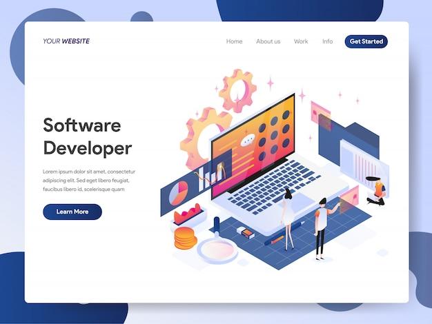 Banner dello sviluppatore software della pagina di destinazione