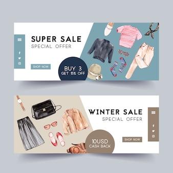 Banner design alla moda con attrezzatura, custodia per fotocamera, accessori