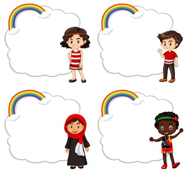 Banner design con bambini felici