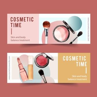 Banner design cosmetico con evidenziatore, pennello, rossetto