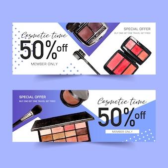 Banner design cosmetico con ombretto, pennello, rossetto