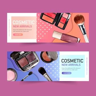 Banner design cosmetico con pennello, rossetto