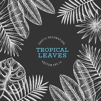 Banner design di piante tropicali.