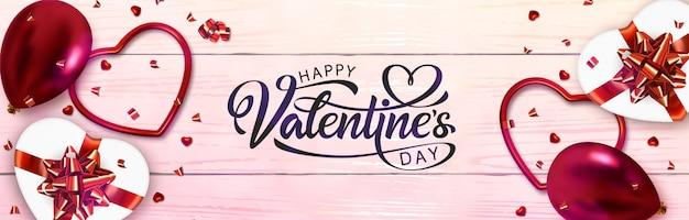 Banner design di san valentino. lettering disegnato a mano