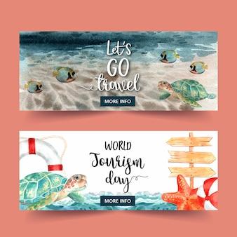 Banner design di turismo con mare, onda, pesce, tartaruga