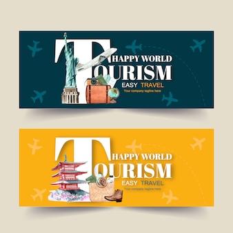 Banner design di turismo con scultura, mappa, palazzo, passaporto