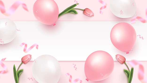 Banner design festivo con cornice bianca, mongolfiere bianche e rosa, coriandoli di fogli cadenti e tulipani su sfondo roseo. modello di festa della donna, festa della mamma, compleanno, anniversario. illustrazione