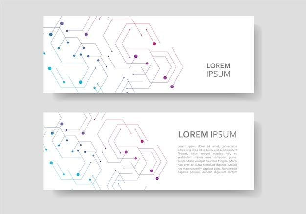 Banner design in figure geometriche esagonali
