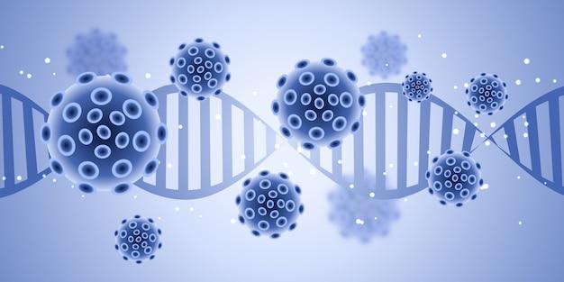 Banner design medico con cellule virus astratte