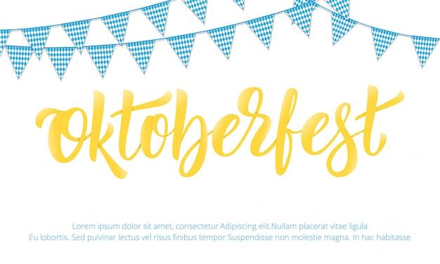 Banner design per il festival della birra tedesco oktoberfest con scritte moderne