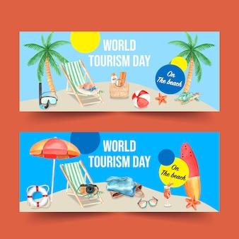 Banner design per il turismo con anello da nuoto, ombrellone, tavola da surf, stelle marine