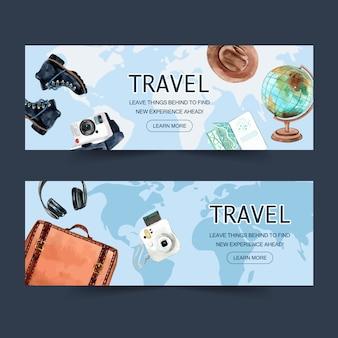 Banner design per il turismo con bagaglio, stivali, fotocamera polaroid, cuffie