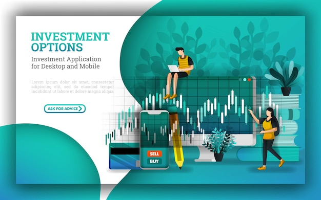 Banner design per opzioni di investimento e servizi bancari finanziari