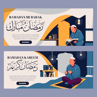 Banner design piatto ramadan con illustrazione