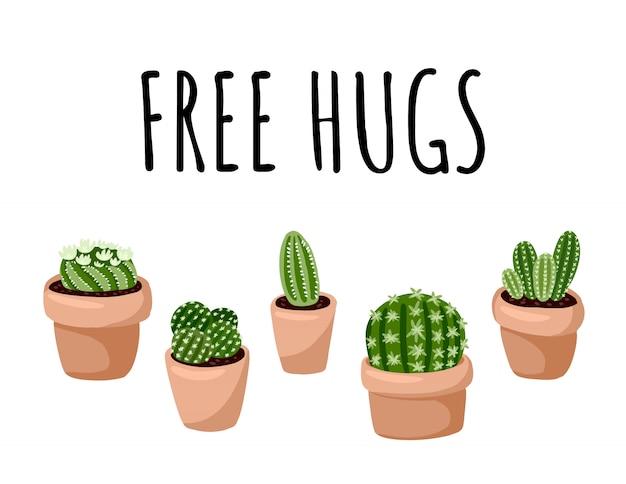 Banner di abbracci gratis. set di hygge in vaso piante succulente cartolina. accogliente collezione di piante in stile scandinavo lagom