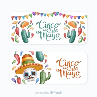 Banner di acquerello cinco de mayo