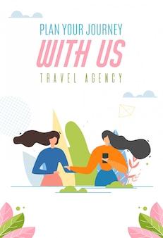 Banner di agenzia di viaggi. pianificazione del viaggio facile.