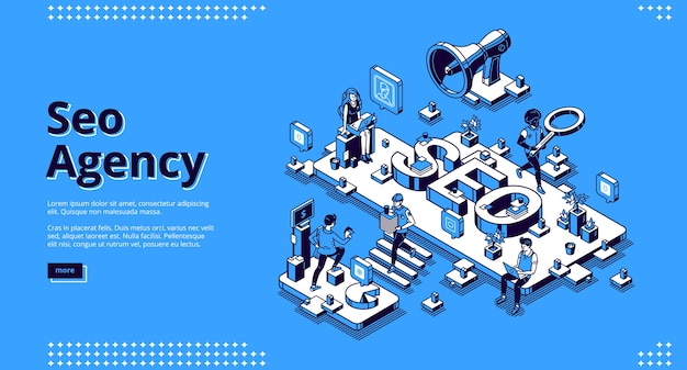 Banner di agenzia seo. servizio di promozione e pubblicità aziendale sui social media e sul web.
