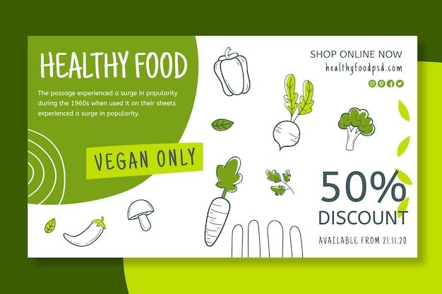 Banner di alimenti biologici e sani
