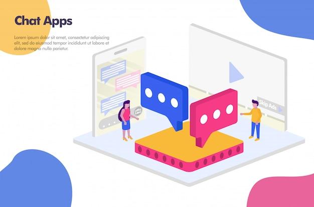 Banner di app di chat isometrica