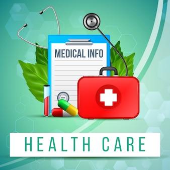 Banner di assistenza sanitaria. tavoletta di carta, doctor bag, pillola
