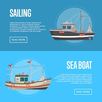 Banner di attività di pesca con piccole imbarcazioni di mare