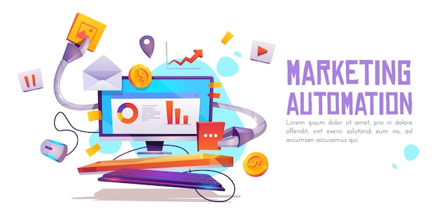 Banner di automazione del marketing. tecnologia per seo