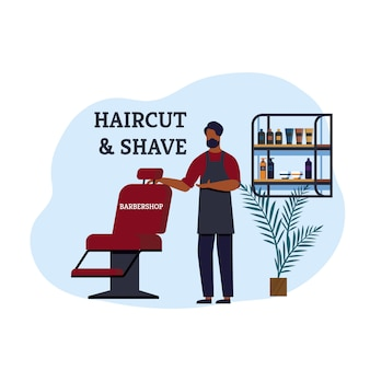 Banner di barbiere taglio di capelli e rasatura invito.