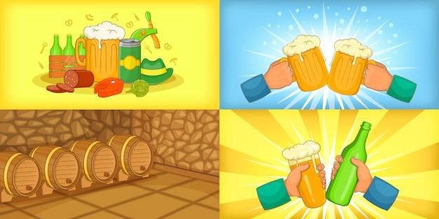 Banner di birra impostato orizzontale in stile cartone animato