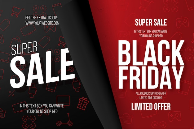 Banner di black friday con icone del negozio