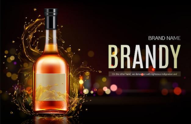 Banner di bottiglia di brandy