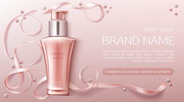 Banner di bottiglia di cosmetici