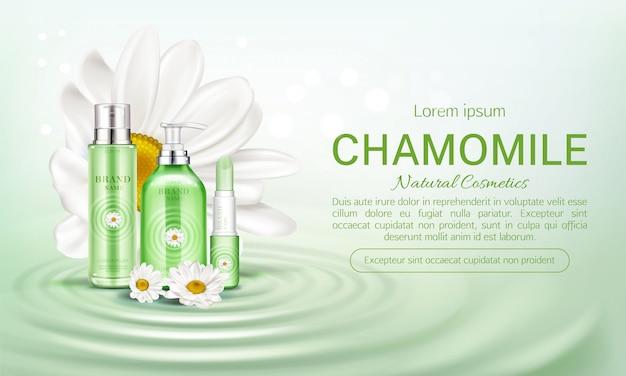 Banner di bottiglie cosmetici camomilla eco
