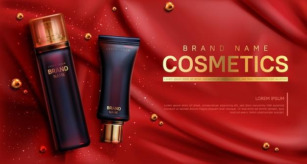 Banner di bottiglie di cosmetici. cura del corpo bellezza