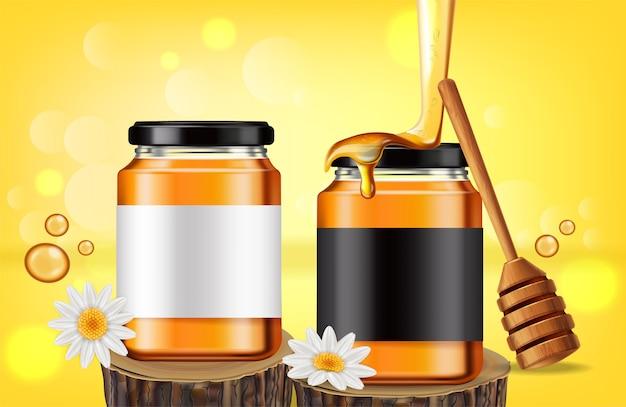 Banner di bottiglie di miele