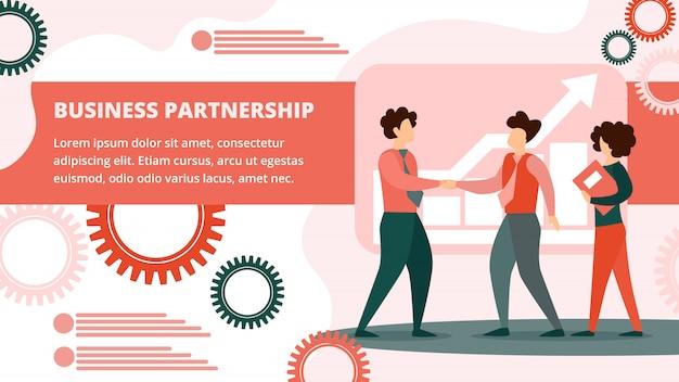 Banner di buon affare. handshaking dei soci commerciali.