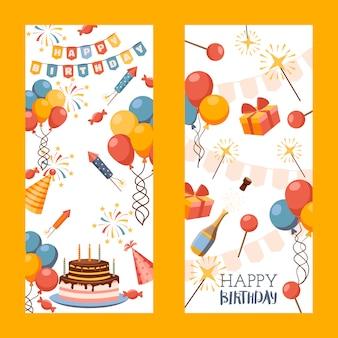 Banner di buon compleanno, biglietto di auguri, etichetta regalo
