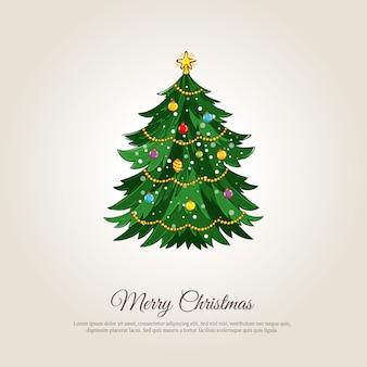 Banner di buon natale con albero di natale decorato