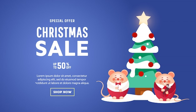 Banner di buon natale con simpatici ratti con regali e albero di pino