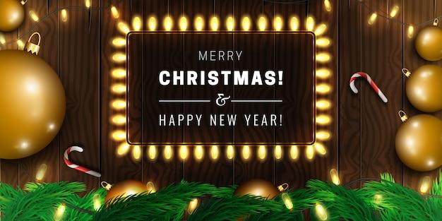 Banner di buon natale e felice anno nuovo con ghirlanda