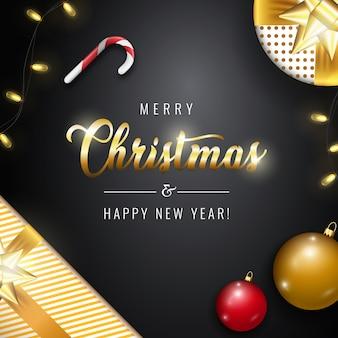 Banner di buon natale e felice anno nuovo con scritte in oro.