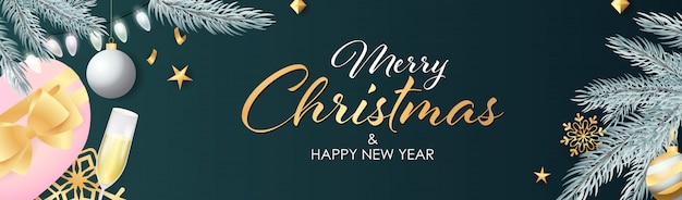 Banner di buon natale e felice anno nuovo con un bicchiere di champagne