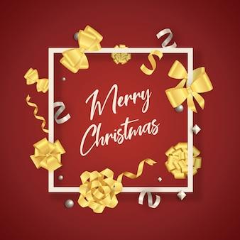Banner di buon natale in cornice con fiocchi d'oro su fondo rosso