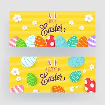 Banner di buona pasqua con bunny ear