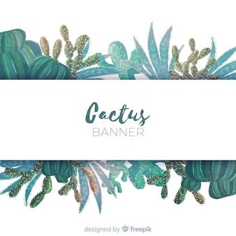 Banner di cactus dell'acquerello