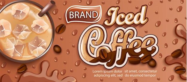 Banner di caffè ghiacciato con ghiaccio e gocce apteitiche.