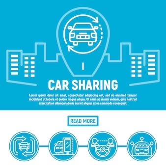 Banner di car sharing di città, struttura di stile