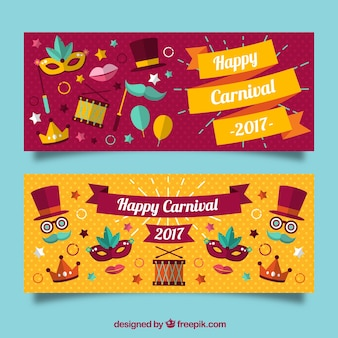 Banner di carnevale felice con oggetti colorati