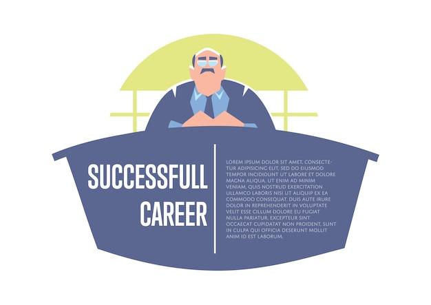 Banner di carriera di successo con grande capo
